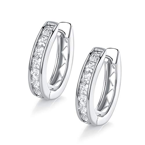 18k White Gold Plated Cubic Zirconia Created Hoop Earrings for ()