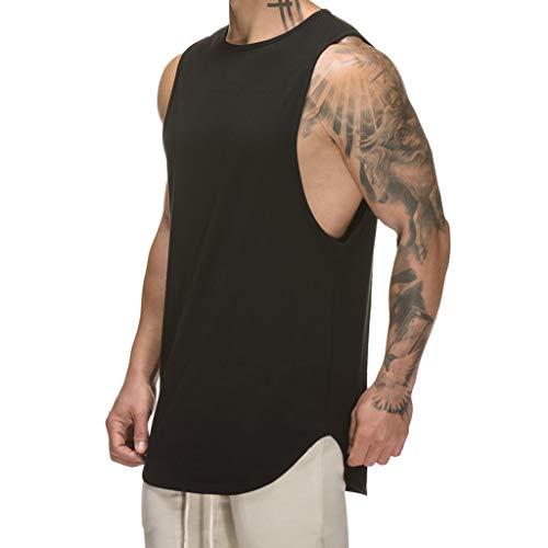 Magiftbox Mens Muscle Tanks Workout Gym Tank Tops Fitness Training Sweatshirts for Men T06_Black_US-XL (La Fitness Shirt)
