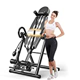 Popsport Premium Foldable Gravity Inversion Table Waist Inflatable Adjustment with Protective Belt Back Therapy Fitness (Gray)