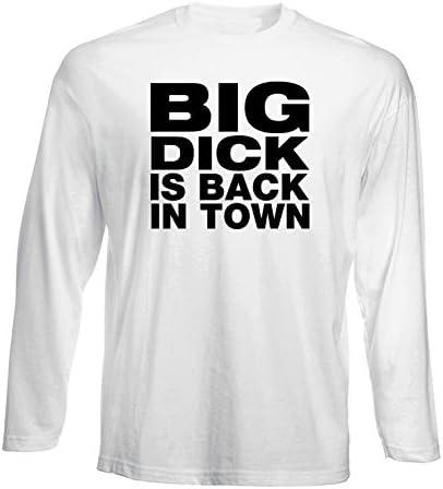 T-Shirt Manica Lunga Uomo Bianca FUN3745 Big Dick is Back in Town