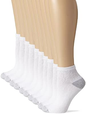 10-Pairs Hanes Cushioned Womens Low-Cut Athletic Socks White or Black 5-9