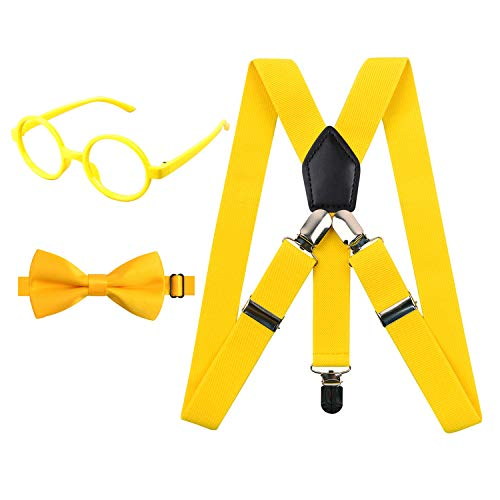 2.5cm Elastic Braces 3 Clip Suspender and Bow Tie Set with Glasses Frame for Kids, -