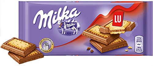 Milka & LU Biscuits Chocolate Bar Candy Original German Chocolate 87g/3.06oz (Pack of ()