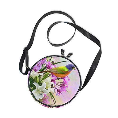 WellLee Blooming Lilies Flowers Bird Round Crossbody Bag Purse Messenger Bag