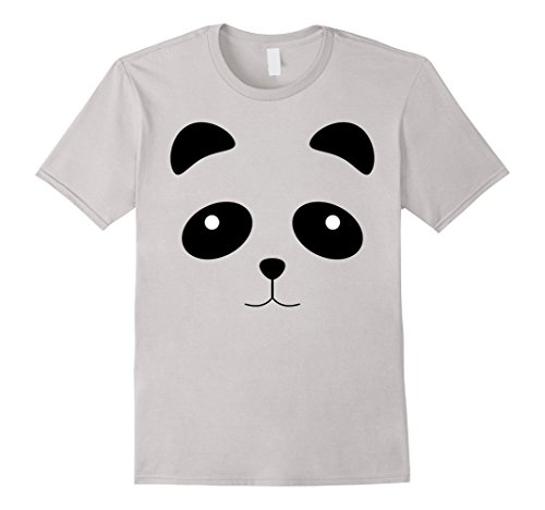 Panda Costume Face (Mens Funny Panda Face Halloween Costume Shirt - Cool Kids Gift Large Silver)