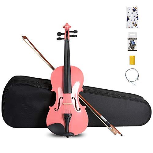 [해외]ARTALL 44 수 제 학생 어쿠스틱 바이올린 초보자 팩 활 하드 케이스 친 레스트 튜너 예비 문자열로 진 다리 광택 핑크 / ARTALL 44 Handmade Student Acoustic Violin Beginner Pack with Bow Hard Case Chin Rest Tuner Spare Strings Rosin and Br...