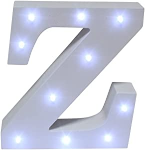 Royal Brands Decorative DIY LED Letter Light Sign - Light Up Wooden Alphabet Letter Battery Operated Party Wedding Marquee Décor - White (Z)