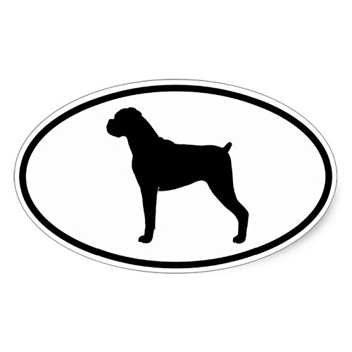 Boxer Silhouette (Natural Ears) Oval Sticker - Sticker Graphic - Beware of Dog Lover Sticker Sign for Walls Windows Bumper Sticker Dog Sign Dog Lover - Silhouette Ear