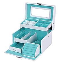SONGMICS Jewelry Box Lockable Storage Case with Mirror White UJBC114W