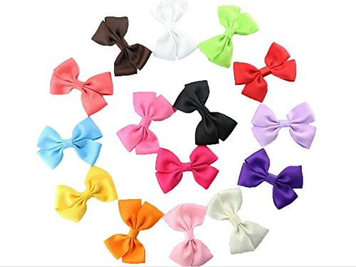 Dogs Kingdom Handmade Rib Belt Dog Bow Hairpin Pet Hair Bows Dog Accessories Pet Grooming Products 15/30Pcs ()