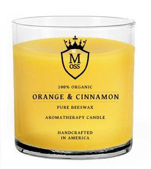 Orange & Cinnamon – 100% Organic Aromatherapy Scented Beeswax Candle – Organic,  ...