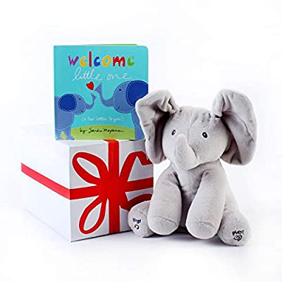 """Gund Baby Animated Flappy The Elephant Plush Toy with""""Welcome Little One""""Baby Book. Free Gift Box Included. for Birthday, Holidays and Baby Showers. Perfect for Baby and Toddler Toys."""