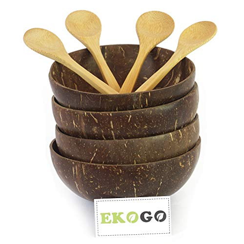 Ekogo Set of 4 Coconut Bowls with 4 Spoons   Polished With Coconut Oil   Handmade, Vegan, Natural, Eco Friendly, Reusable Bowl for Breakfast, Serving, Decoration, - Coconut Bowl