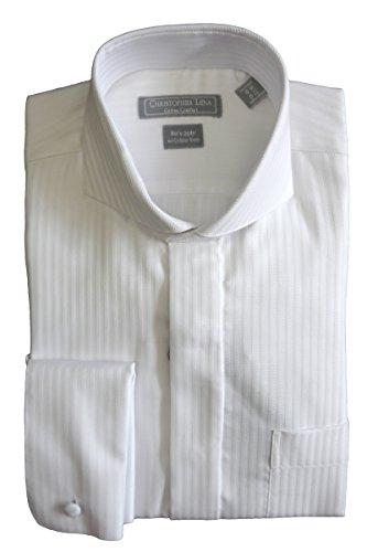 Herringbone Stripe Dress Shirt (Christopher Lena Men's Wrinkle Free Herringbone Stripe Cutaway Collar Dress Shirt - White (16 - 34-35))
