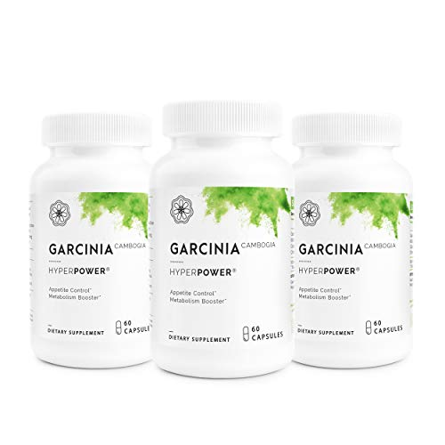 HyperPower Garcinia Cambogia Weight Loss Supplement - 100% Pure & Potent Hydroxycitric Acid AKA HCA - Superior Appetite Suppressant & Carb Blocker - 60 Pills, Made in USA, 3-Pack