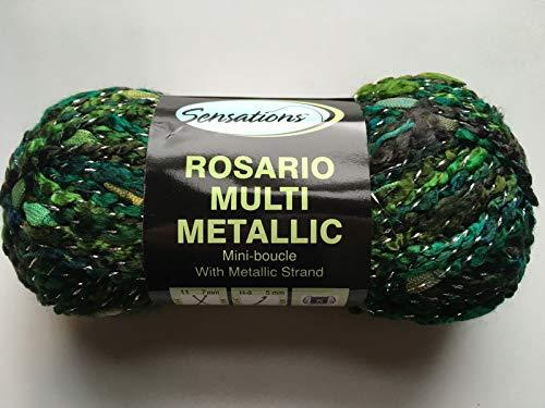 Sensations Rosario Multi Metallic Yarn #1327 Mermaid - Greens Brown Silver 100 Gram, 110 Yards