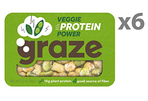 Graze Natural Veggie Protein Power Snack Mix - Spicy Chickpeas, Edamame Beans and Black Pepper Cashews, Tasty, Healthy, Natural Nut Trail Mix - 1.3 Ounce Box (6 Pack) ()