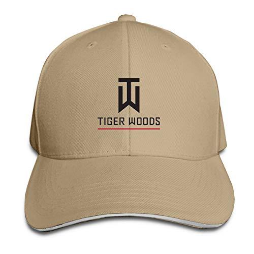 Lkbihl Tiger Logo Woods Unisex Adult Adjustable Peaked Sandwich Hats Trucker Cap Baseball Cap Natural ()