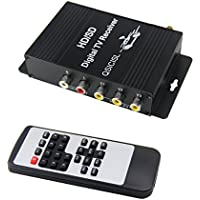 QSICISL HD Car Mobile TV Tuner ATSC Digital 4 Video Output TV Receiver Box with Antenna for United States Canada Mexico