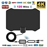 HD Digital TV Antenna, leegoal 120 Miles Long Range Indoor HDTV Antennas with Powerful Amplifier Signal Booster and 13.2Ft Coax Cable Support 4K HD VHF UHF Freeview for Life Local Channels Broadcast