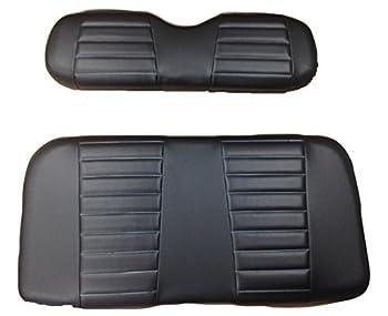 Kool Cushions  EZGOTXT--BKBKPLT-01 -Custom Vinyl Golf Cart Seat Covers Front Only-Black with Black Pleats- For Ez-GO TXT Golf Cart