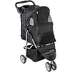 VIVO Black 3 Wheel Pet Stroller for Cat, Dog and More, Foldable Carrier Strolling Cart (STROLR-V003K)