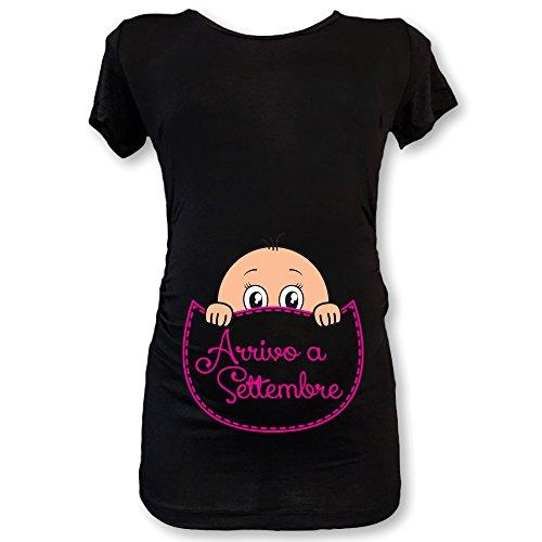 In Premaman T Settembre Nera A Arrivo Femminuccia Maglia Shirt Natale S4qrwqUI