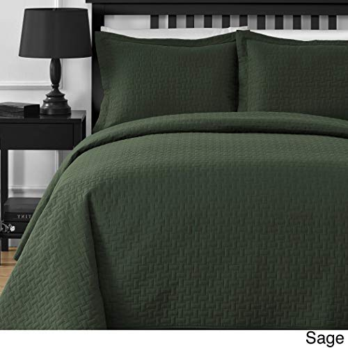3 Piece Cozy Sage Green Full Queen Coverlet Set, Geometric Themed Bedding Stylish Chic Thermal Oversized Soft Trendy Modern Classic Pretty Plush Luxury Comfortable Warm Soft, Microfiber