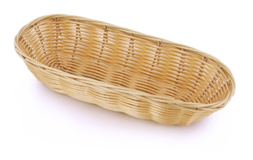 New Star Foodservice 44218 Food Serving Baskets 9 x 4.25 x 2 inch Oblong, Hand Woven, Polypropylene, Set of 12, Natural by New Star Foodservice