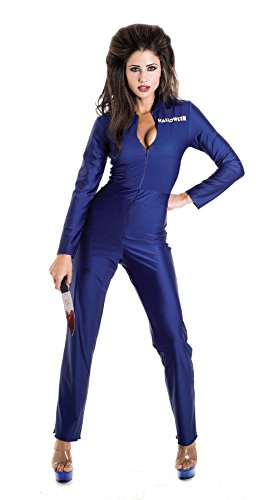 UHC Women's Sexy Michael Myers Jumpsuit Horror Movie Theme Halloween Costume, M (Michael Myers Costume For Women)