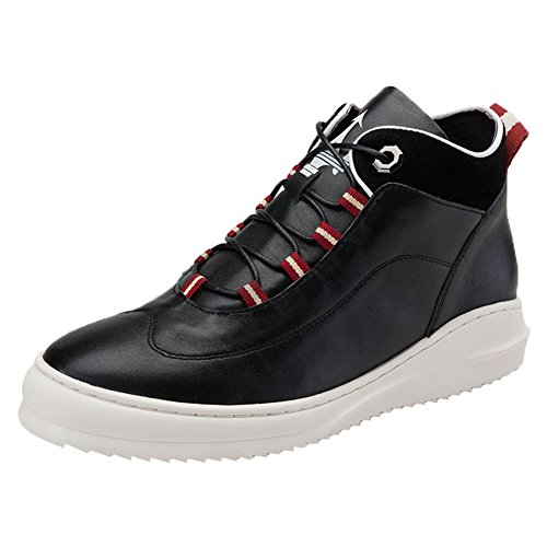 Santimon Mens Sneakers High Top Sports Leather Fashion Platform Shoes Black