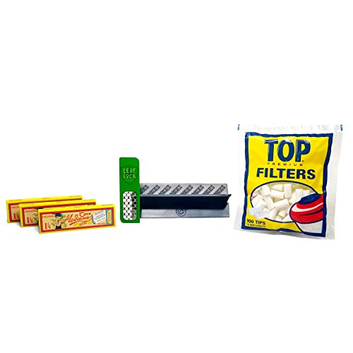 Club Modiano Rolling Papers Bistro (3 Packs), Cookies Brand Rolling Cradle, Top 15mm Filters, and Leaf Lock Gear Grider Card - 6 Items - Bundle