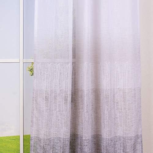 Bello da vivere. Tenda con passanti, effetto lino, a righe orizzontali, sfumature di colore, bianco, beige, nero, 140 x 245 cm