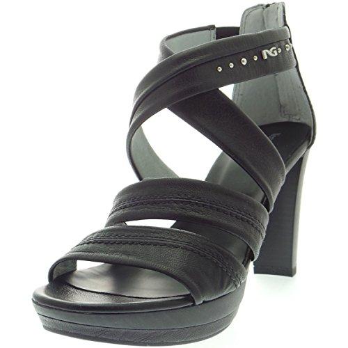 NERO GIARDINI 15520 nero scarpe donna sandali tacco pelle zip