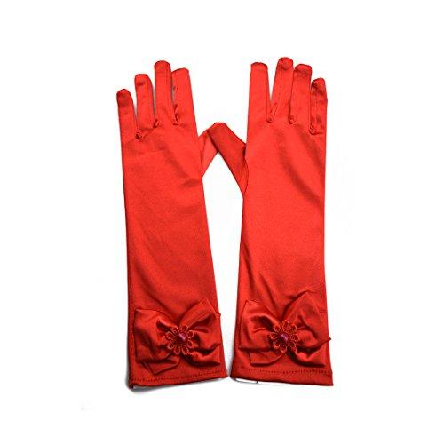 Greenmoe Girls Long Satin Finger Bowknot Formal Pageant Kids Gloves Red -