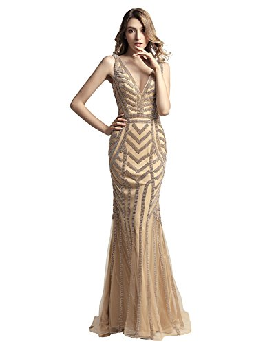 Belle House Champagne Beaded Chain Formal Dresses Prom Dresses 2018 Long Sexy V Neck Evening Gowns Mermaid Style