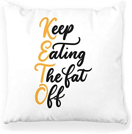 Toobaso Decorative Throw Pillow Cover Square 16x16 Eating Fat Lettering Quote Isolated Keto Diet Ketogenic Chart Calligraphy Carb Carbohydrates Carbs Concept Home Decor Zippered Pillowcase 1