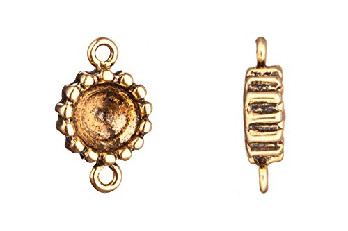 link/connector, antique-gold finished bead edged round rivoli setting 18.6x11.66mm fits ss38 Swarovski crystals