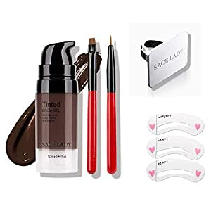 Eyebrow Gel Kit with 2PCS Eyebrow Brushes, Tinted Long Lasting Cruelty Free Eyebrow Gel for Daily Natural Waterproof Eyebrow Makeup, Flake-proof, Smudge-proof, Dark Brown