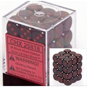 Chessex Opaque 12mm d6 Black w/Red Dice Block 36 Dice