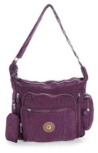 Purple Deep Shop Medium Bag Unisex Handbag Cross Fabric Size Lightweight Body Big Messenger Shoulder Rainproof Medium 6xZfW