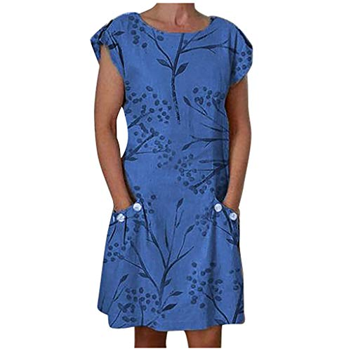uookboy Women Casual Plus Size Dress Floral Print O-Neck Short Sleeve Sexy Long Dress Fashion Comfy Maxi Dress (Blue, XL)