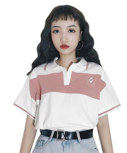(ジュンィ) レディース ポロシャツ 半袖 Tシャツ ゴルフウェア ゆったり シンプル 2色 スポーツウェア おしゃれ
