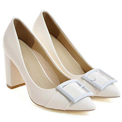 COOLCEPT Women Thick Heels Court Shoes White A1qLDTG