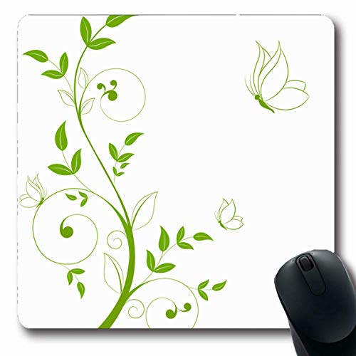 Ahawoso Mousepad Oblong 7.9x9.8 Inches Butterfly Green Spring Abstract Floral Butterflies Leaf Vintage Clip Border Scroll Tree Line Design Mouse Pad Non-Slip Rubber for Notebook Laptop PC Computer