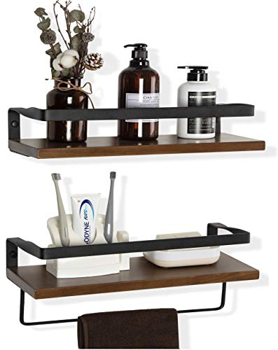 COZIA Floating Shelves Wall Mounted Storage Shelves Rustic Wood Decor Set of 2 for Kitchen, Bathroom,Living Room and More (Floating Shelves, Set of 2)