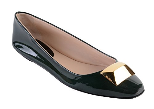 Max Mara Women's Ballet Flats - Soft Italian Patent Leather - Great for Professional & Evening Wear (10, Green) by MaxMara