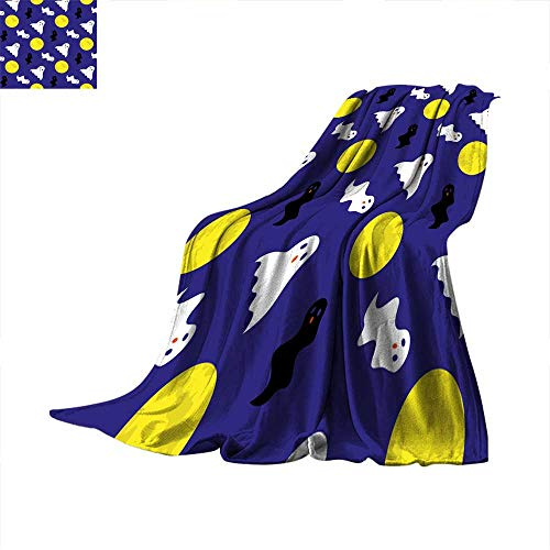 Angoueleven Queen Size Blanket Seamless Pattern with Halloween Symbols Throw Blanket 90