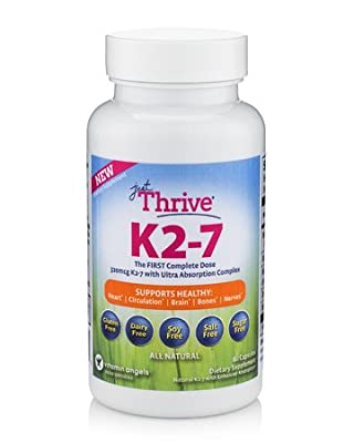 Just Thrive Vitamin K2-7: More Vitamin K2-7 than other products! Contains 320 mcg of high quality MenaquinGoldTM prescription grade Vitamin K2-7