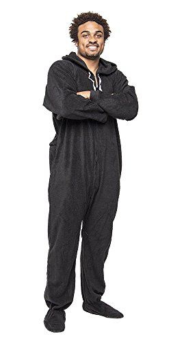 Forever Lazy Footed Adult Onesie - Black to Sleep - XXL -